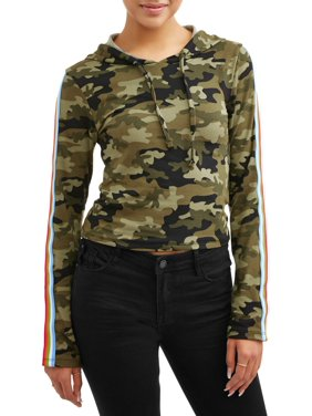 9de1a223e835a7 Product Image Juniors' Printed Peached Pullover Hoodie with Side Taping