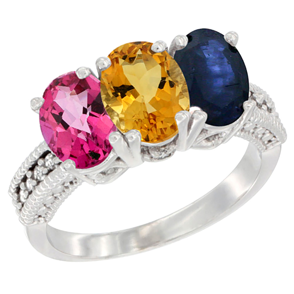 14K White Gold Natural Pink Topaz, Citrine & Blue Sapphire Ring 3-Stone 7x5 mm Oval Diamond Accent, sizes 5 10 by WorldJewels
