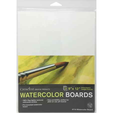 """Crescent Watercolor Board 3/Pkg-9""""X12"""" White - image 1 of 1"""