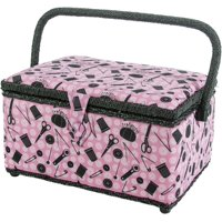 Singer Sewing Basket in Pink Notions Print with 126 Piece Sewing Kit with Basic Notions