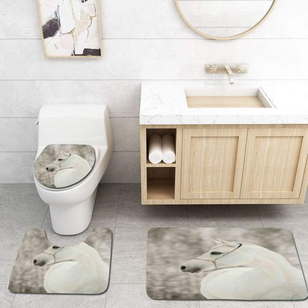 GOHAO Black and White White Horse Face Portrait Winter Equestrian Purity Power Grace Symbol 3 Piece Bathroom Rugs Set Bath Rug Contour Mat and Toilet Lid Cover
