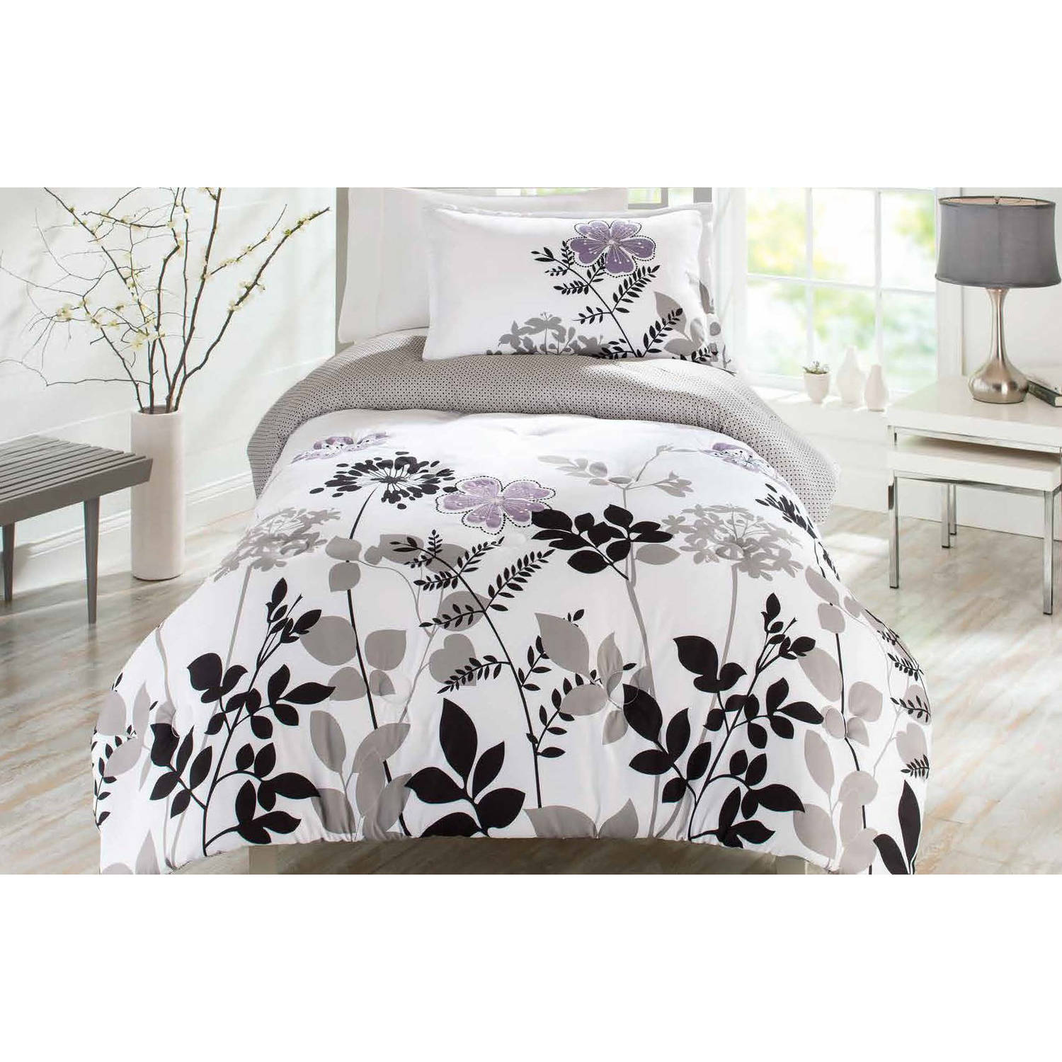 Better Homes and Gardens Comforter Set, Warm Plum Fauna
