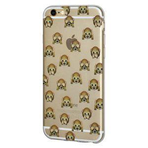 iPhone 6s/ iPhone 6Soft Gel Clear Emoji TPU Back Case Impact Defender Skin Case iPhone 6s/ iPhone 6 - See Hear Speak No Evil Monkeys