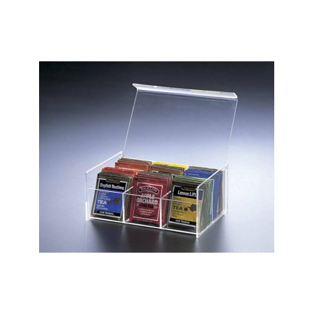 Tuck Box Tea Room - Sparkle Acrylic Lucite 6 Compartment Tea Bag Box with Hinged Lid