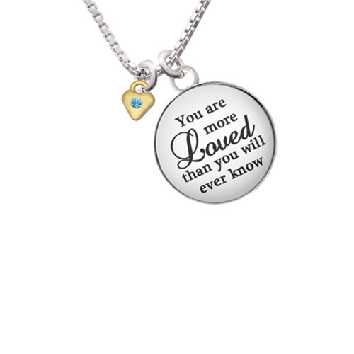 """Mini Hot Blue Birthday Crystal Gold Tone Heart You are more Loved than you Know Glass Dome Necklace, 18""""+2"""""""