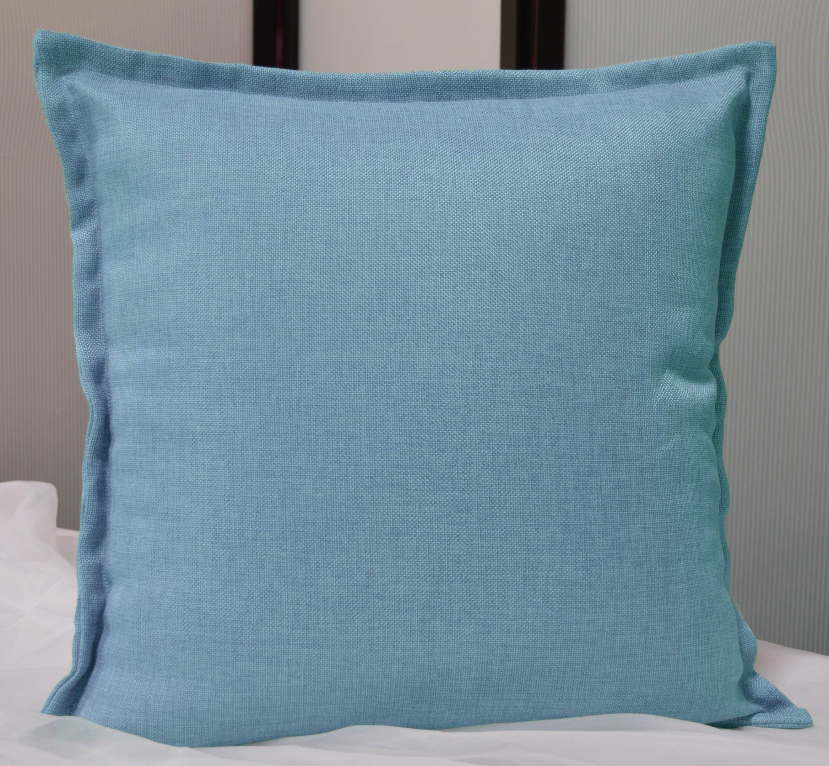"Aiking Home 18""x18"" Solid Faux Linen Throw Pillow COVER, Baby Blue"