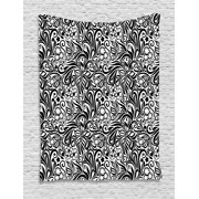 Black and White Tapestry, Western Scroll Pattern Design with Classical Cheery Flourishing Blossoms, Wall Hanging for Bedroom Living Room Dorm Decor, 40W X 60L Inches, Black White, by Ambesonne