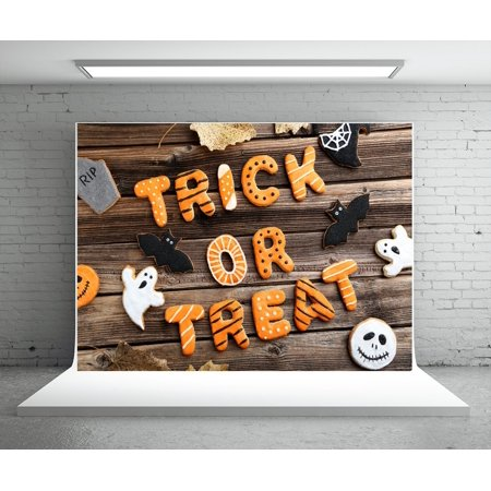 MOHome Polyster 7x5ft Trick or Treat Halloween Decoration Backdrops for Photography Background Brown Wood Family Party Background Props for $<!---->