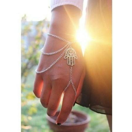 Cuff Platinum Bracelet (ON SALE - Hand of Fatima Hamsa Body Jewelry Bracelet Platinum )