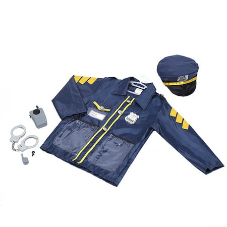 TopTie Child Police Officer Costumes, Cop Role Play Costumes-Navy Blue-S - Police Costume Men