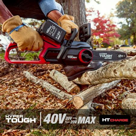 "Hyper Tough 40V MAX 12"" Cordless Self-Oiling Chainsaw"