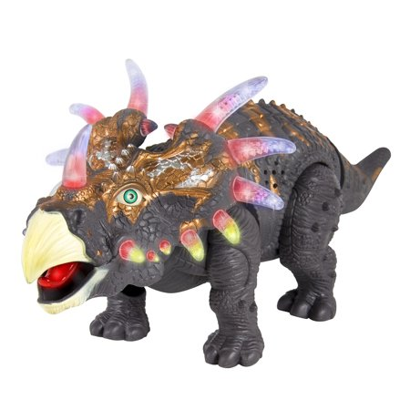 Best Choice Products Walking Dinosaur Triceratops Toy Figure with Many Lights & Sounds, Real Movement - Light Up Dinosaur Toy