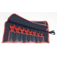 KNIPEX Tools 98 99 13 S4, 1000V SAE Insulated Open End Wrench Set with Tool Roll, 8-Piece