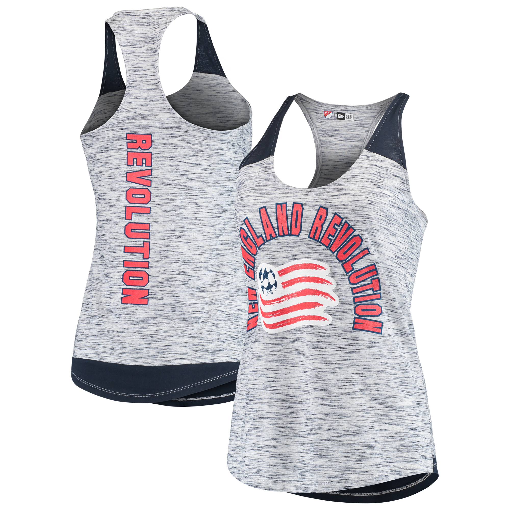 New England Revolution 5th & Ocean by New Era Women's Space Dye Contrast Inserts Racerback Tank Top - Navy
