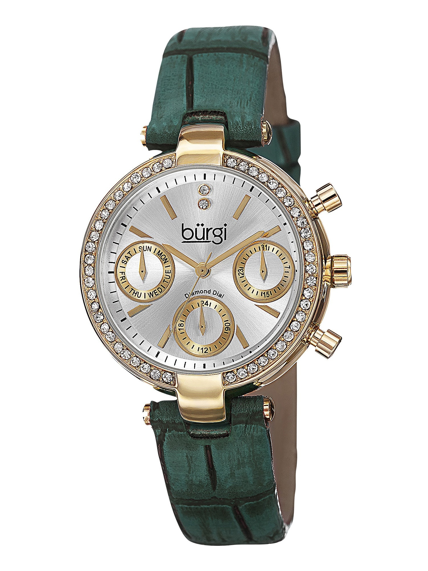 Women's Diamond Swiss Quartz Multifunction Dual-Time Leather Green Strap Watch
