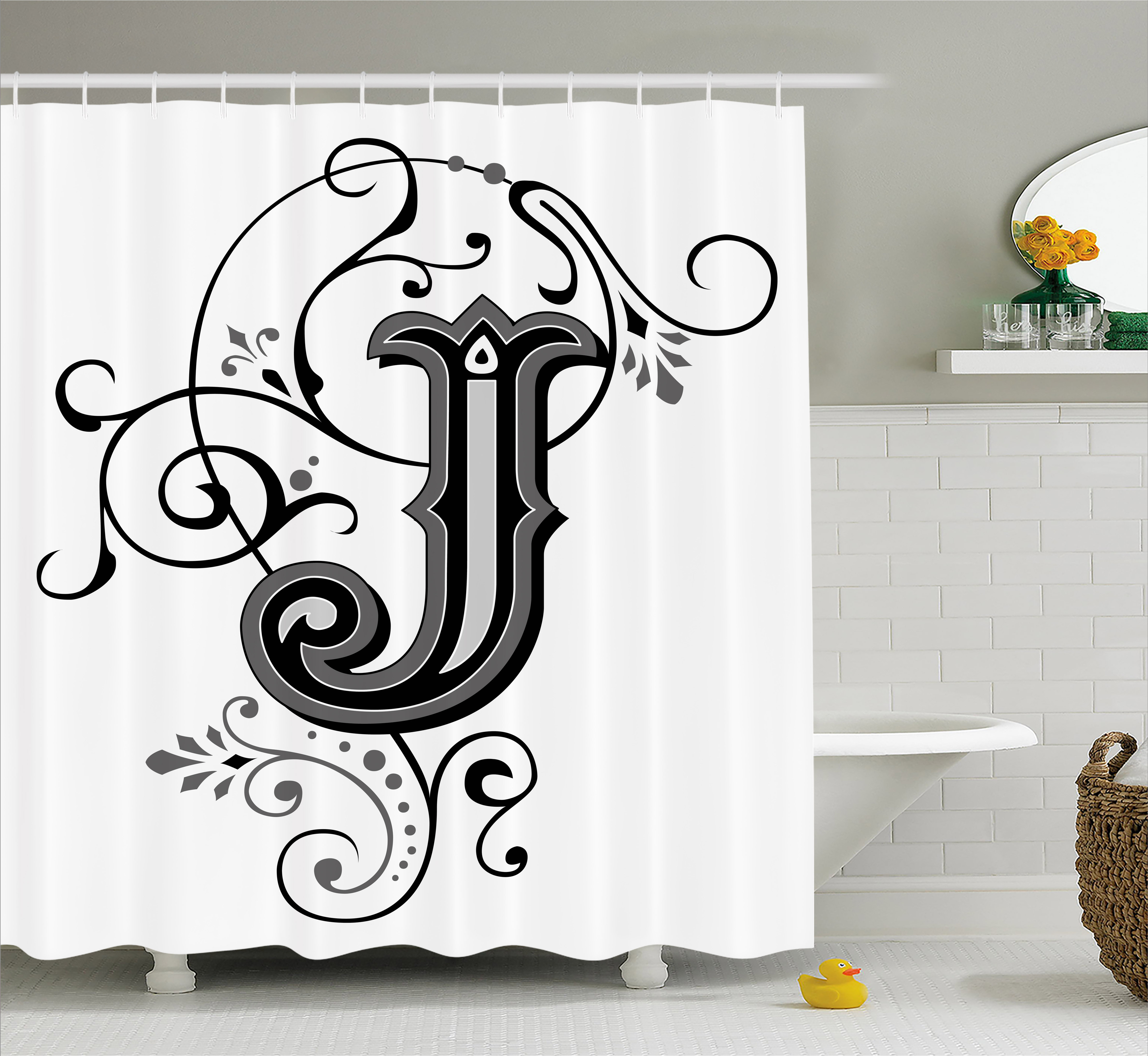 Letter J Shower Curtain Shabby Chic Classic Written Medieval Initials J Royal Noble Family Character Fabric Bathroom Set With Hooks Black Grey