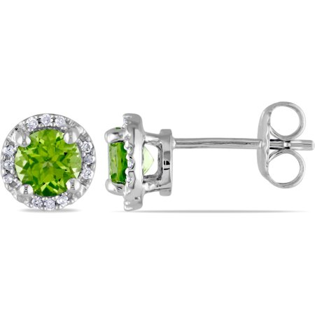 1-1/8 Carat T.G.W. Round Peridot and Diamond Accent Sterling Silver Earrings