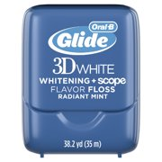 (2 pack) Oral-B Glide 3D White Whitening + Scope Flavor Dental Floss, Radiant Mint, 35 M, Pack of 2