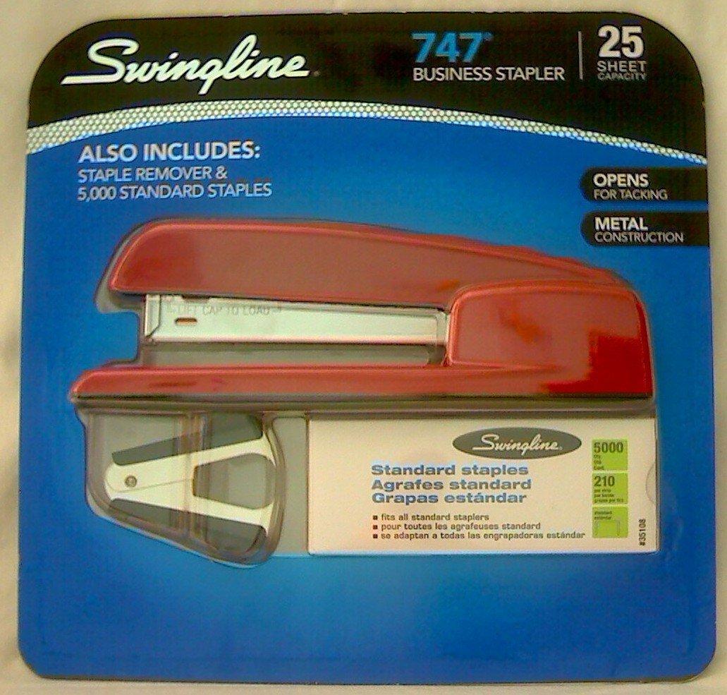747 Business Stapler 25 SHeet capacity RED ! With Staples & Staple Remover, 747 Desk Stapler With 3 5 8 throat... by