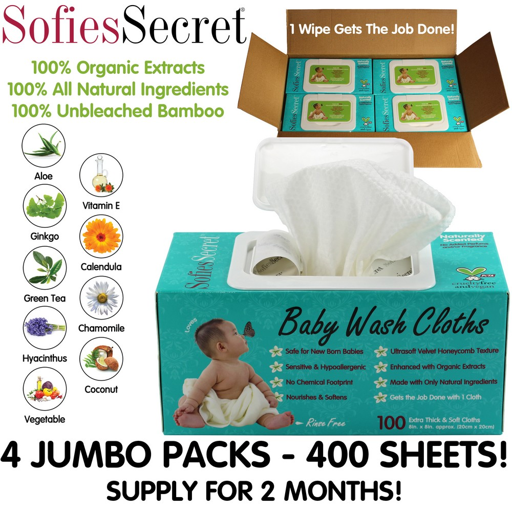 SofiesSecret Fragrance FREE Bamboo Baby Wipes, 100% Organic &Natural Ingredients, 400 Count, 8  x 8 , Hypoallergenic, Sensitive