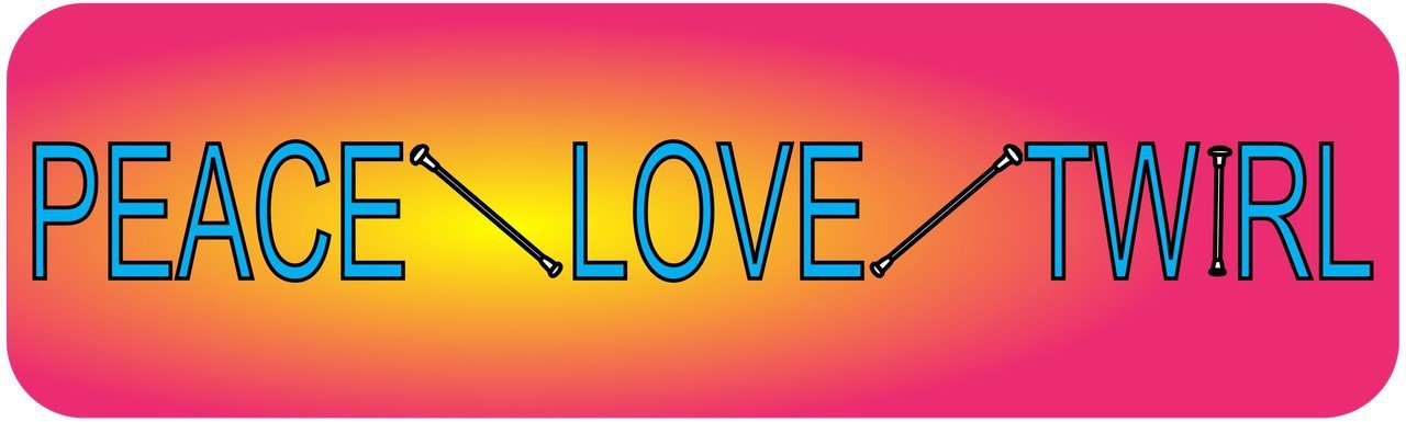 10in x 3in peace love twirl bumper sticker vinyl decal window stickers ski decals