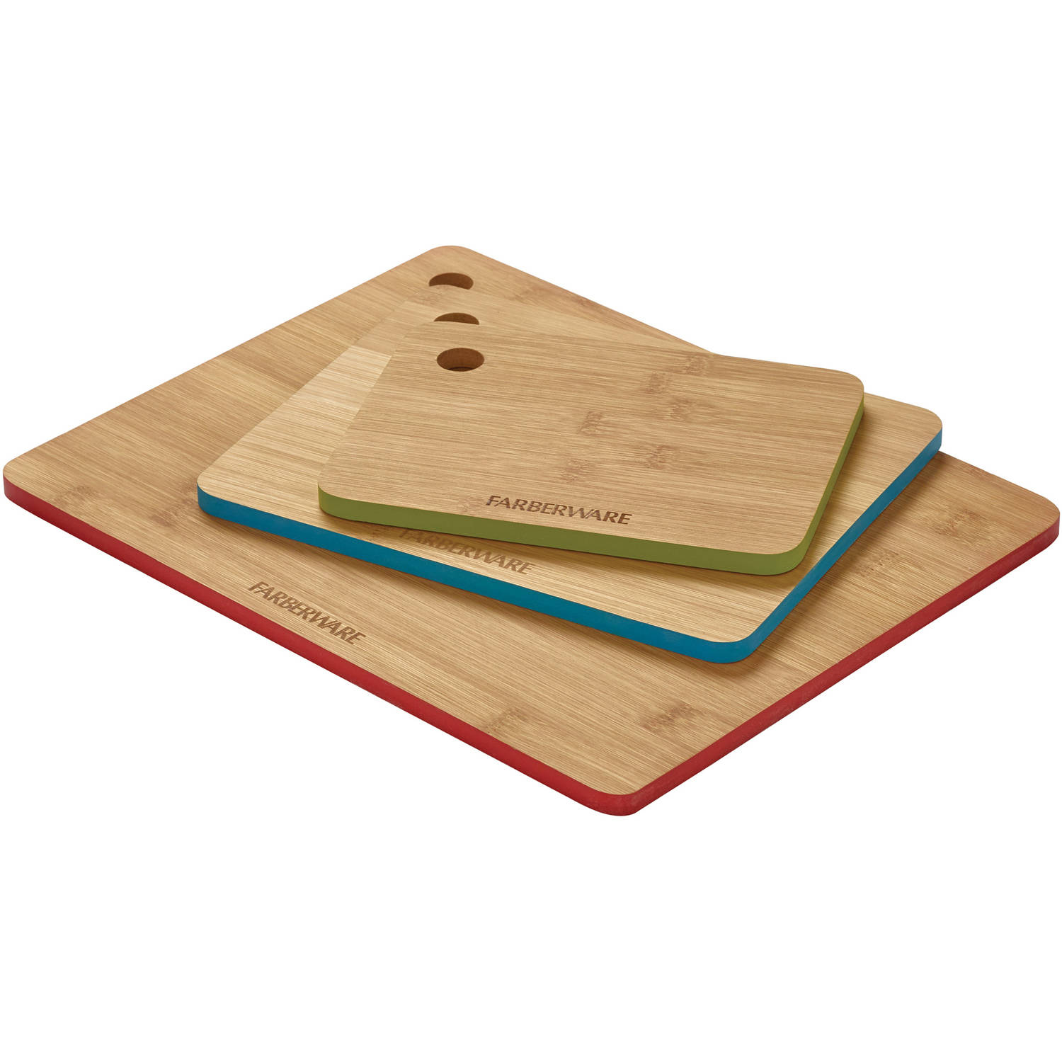 farberware 3piece bamboo cutting board set with color edges