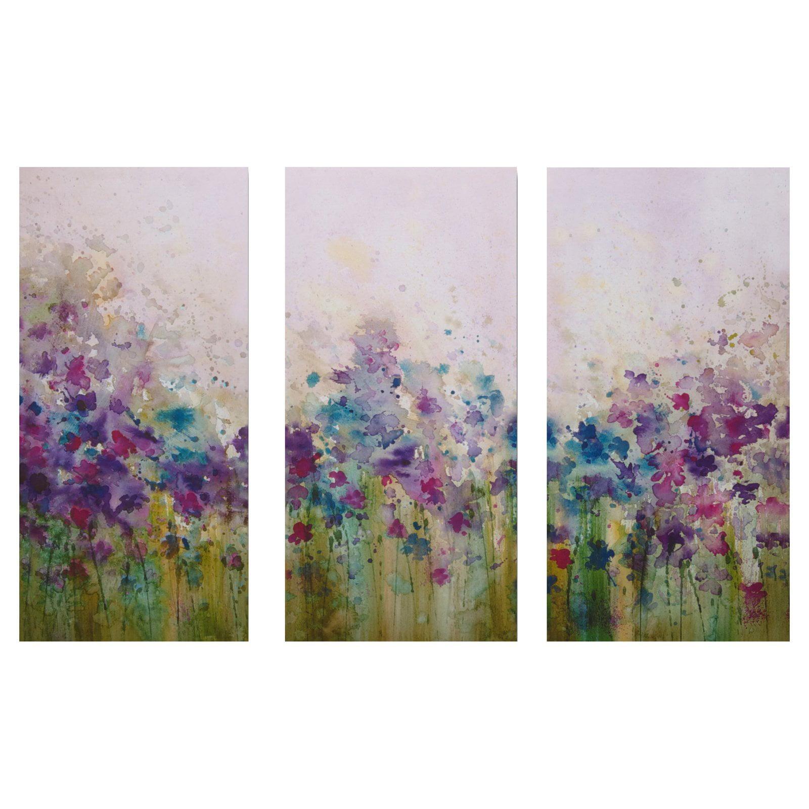 Watercolor Meadow Canvas Wall Art - Set of 3 - 12W x 24H in.ea.