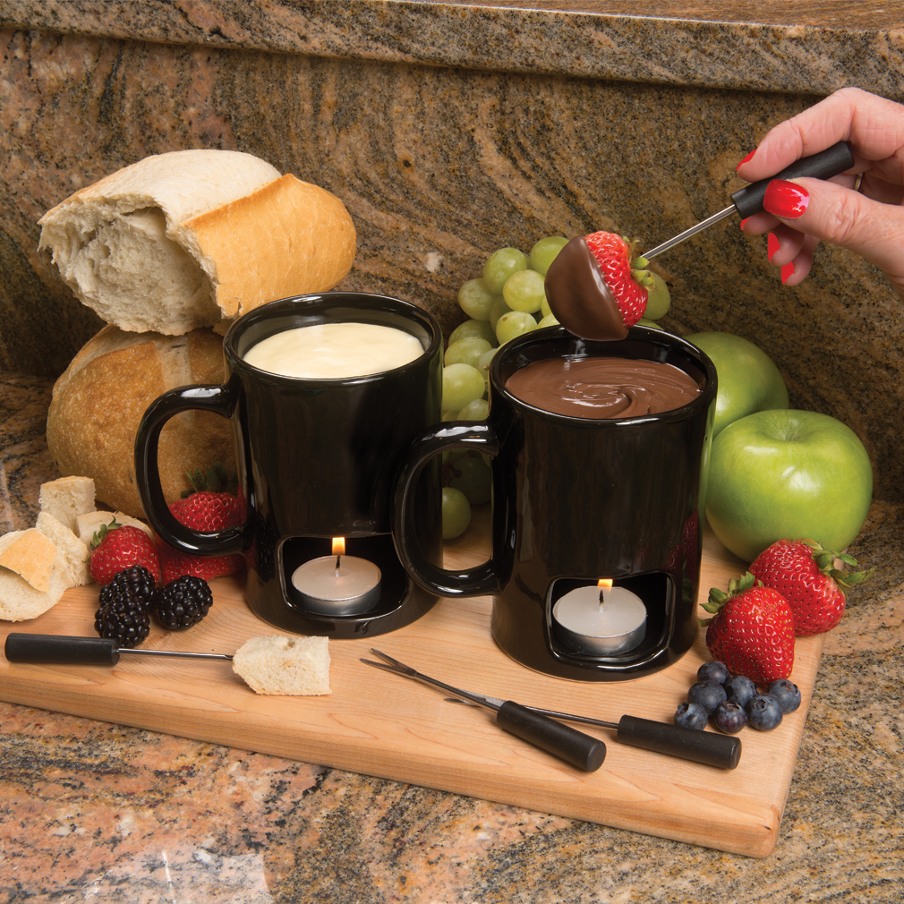 Evelots Set Of 2 Personal Fondue Mugs Set, 8 Votives Included, Black Or White by Green Mountain Imports