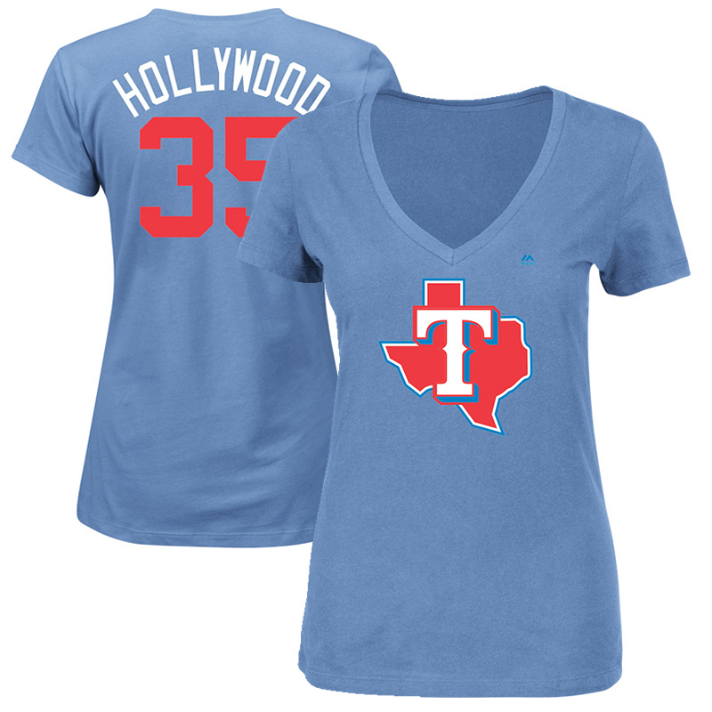 """Cole Hamels """"Hollywood"""" Texas Rangers Majestic Women's 2017 Players Weekend Name & Number T-Shirt - Light Blue"""