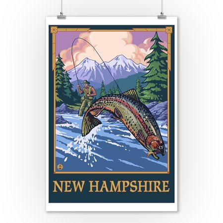 New Hampshire - Angler Fly Fishing Scene (Leaping Trout) - LP Original Poster (9x12 Art Print, Wall Decor Travel Poster)