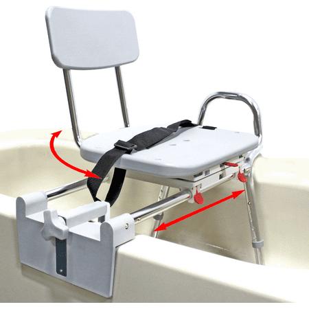 Tub Mount Sliding Swivel (Tub-Mount Swivel Sliding Bath Transfer Bench (77762) - Regular - Heavy-Duty Shower Bathtub Chair - Eagle Health Supplies )