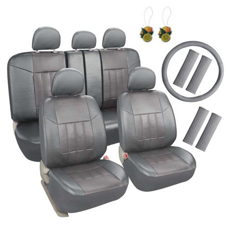 Leader Accessories Universal Front Rear Car Seat Covers Leather 17pcs Combo Pack Full Set Grey with Airbag