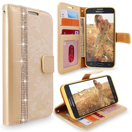 Galaxy J3 Prime Case, Cellularvilla [Diamond] [Card Slots] Embossed Flower Design PU Leather Wallet Case Cover For Samsung Galaxy J3 2017 / J3 Prime / Amp Prime 2 / Express Prime (Embossed Leather Case)