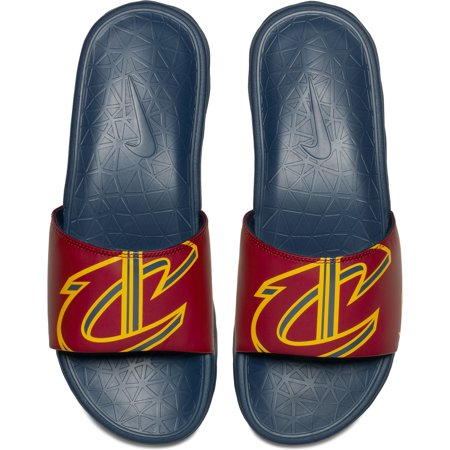 Cleveland Cavaliers Nike Benassi Solarsoft NBA Slides - Maroon Your Cleveland Cavaliers gear collection is impressive, but you need a footwear option that you can casually wear instead of always sporting tennis shoes. These Nike Benassi Solarsoft NBA slides give you that option! They feature awesome Cleveland Cavaliers graphics on each flop, so that you can proudly represent your team with every step.