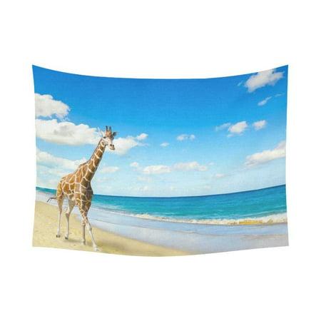 Gckg Ocean Wave Run On Seacoast Giraffe Tapestry Wall Hanging Blue Sky Seaside Wall Decor Art For Living Room Bedroom Dorm Cotton Linen Decoration 80 X 60 Inches