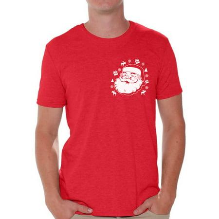 Awkward Styles Santa Pocket Tshirt Men's Santa Ugly Christmas T Shirt Santa Patch Shirt Pocket Size Santa T-Shirt Xmas Shirts for Men Christmas Party Outfit Santa Shirt Funny Santa Gifts - Christmas Outfit For Men