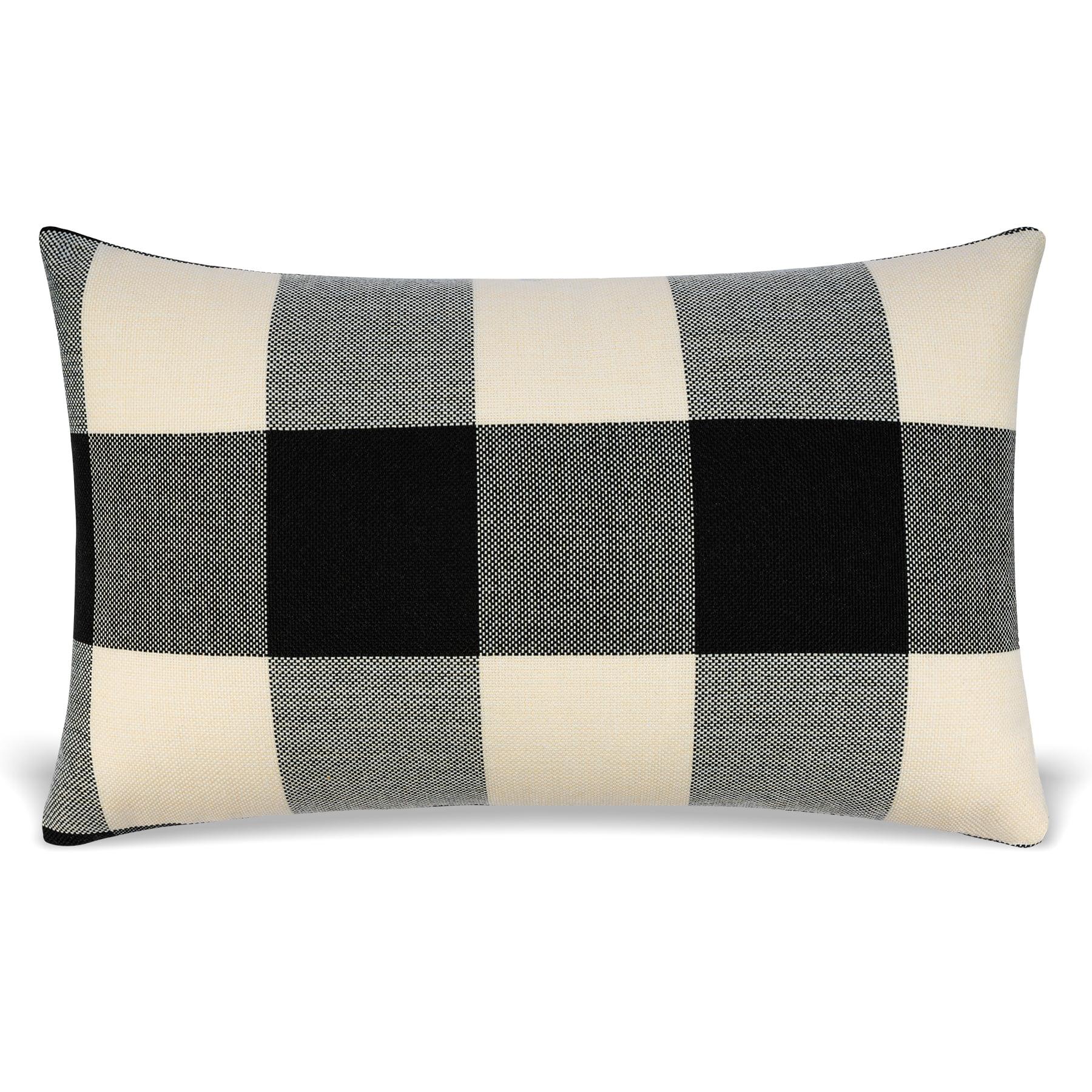 Mauby Home Decorative Pillows Modern Farmhouse Buffalo Plaid Lumbar Pillow Includes Pillow Insert Black And White Walmart Com Walmart Com