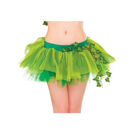 Adult Womens Super Villain Poison Ivy Tutu Skirt Accessory (Green Corset Poison Ivy)