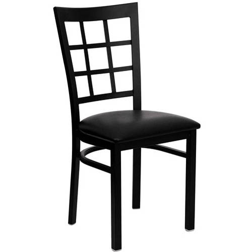 Window Back Chairs - Set of 2, Black Metal / Black Vinyl Seat