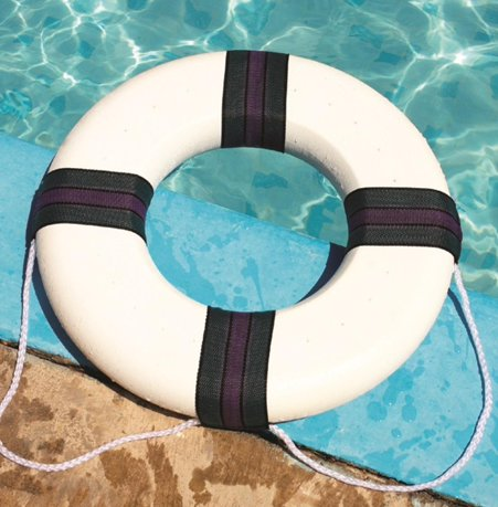 18 White Green And Purple Swimming Pool Summer Safety Ring Buoy