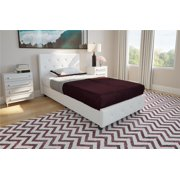 DHP Dakota Upholstered Faux Leather Platform Bed With Wooden Slat Support And Tufted Headboard Footboard