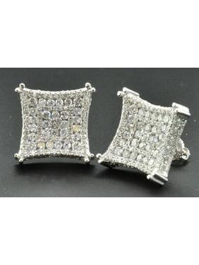 Diamond Studs 3D Kite Shaped 10K White Gold Round Cut Channel Set Earrings 3 Ct.