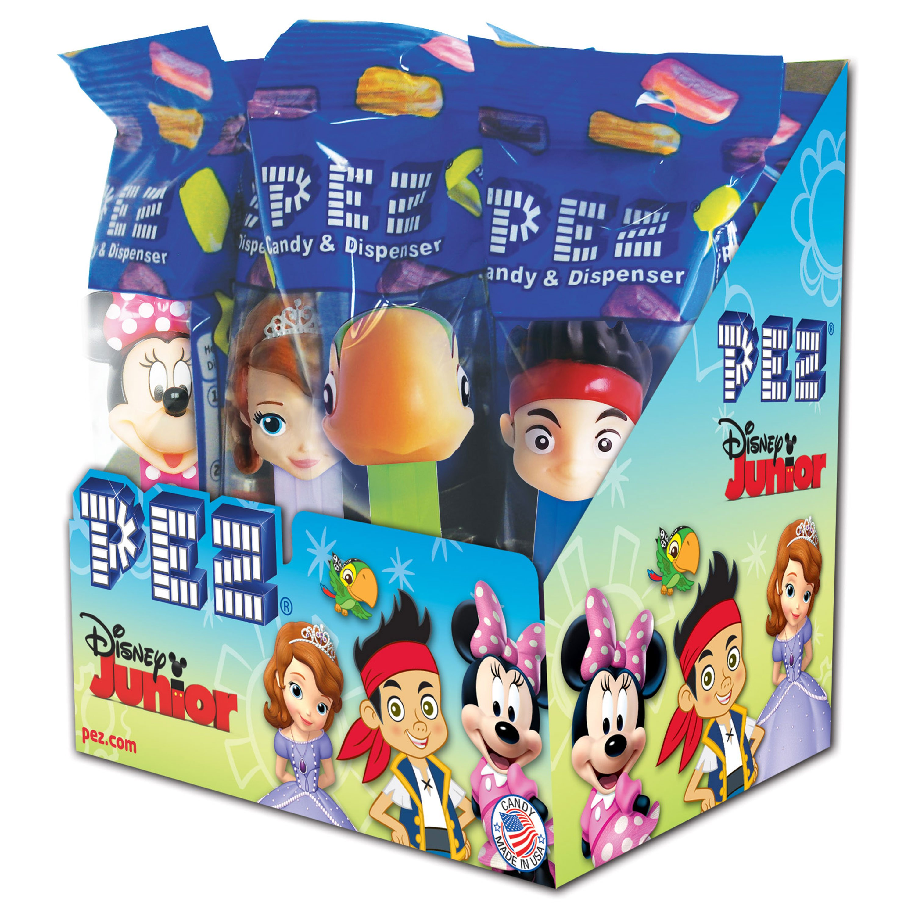 PEZ Candy Disney Jr. Assortment, candy dispenser plus 2 rolls of assorted fruit candy, box of 12
