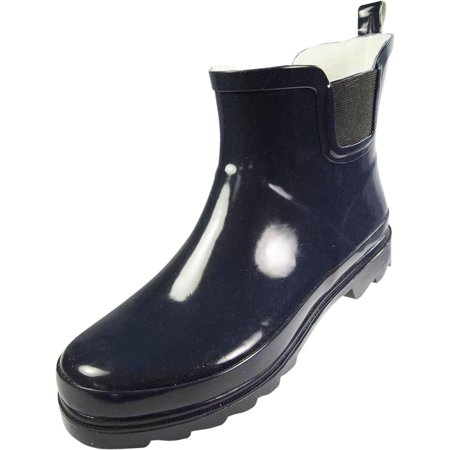 Blue Womens Snowboard Boots - Norty - Ladies Ankle Rain Boots - For Women - Waterproof Rainboot For Winter Spring and Garden - Warm and Comfortable - Soles With Grip - Well Constructed Womens Rain Boots - Runs a 1/2 size Large
