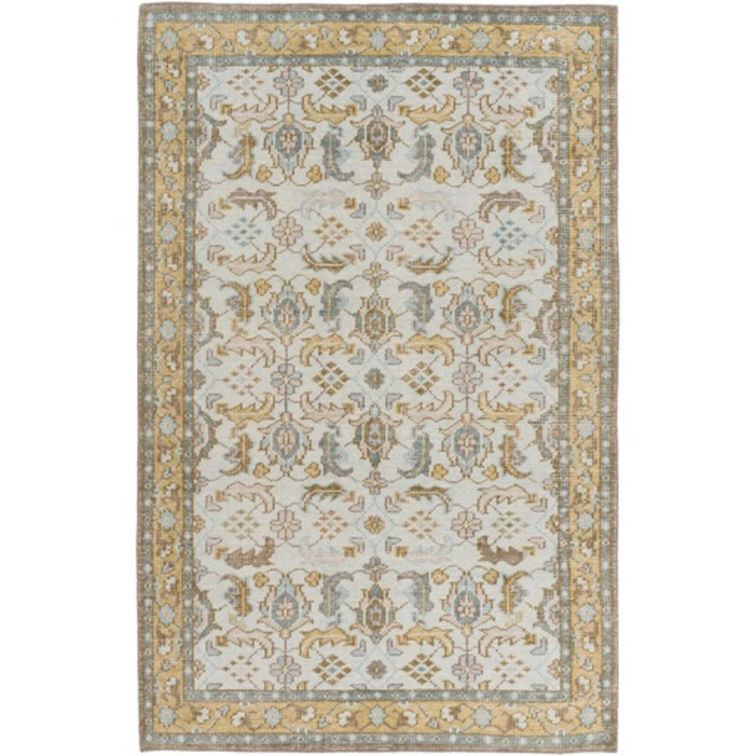 8' x 11' Profound Perception Buttercup Yellow and Sandy Beige Wool Area Throw Rug