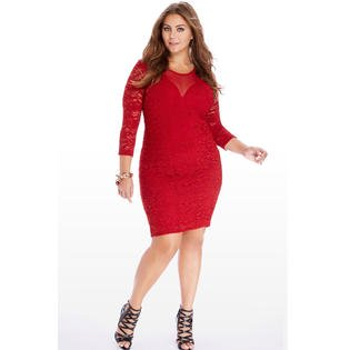 Women Plus Size Lace Embroided Dress Red