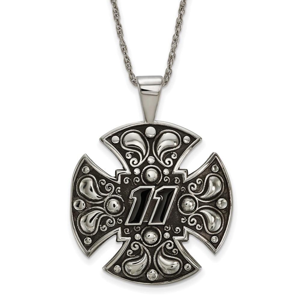 Lex & Lu LogoArt Stainless Steel Large Maltese Cross For Men LAL159677 by