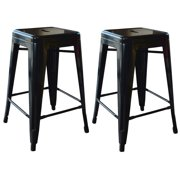 AmeriHome Loft Black 24 Inch Metal Bar Stool 2 Piece by Buffalo Corp