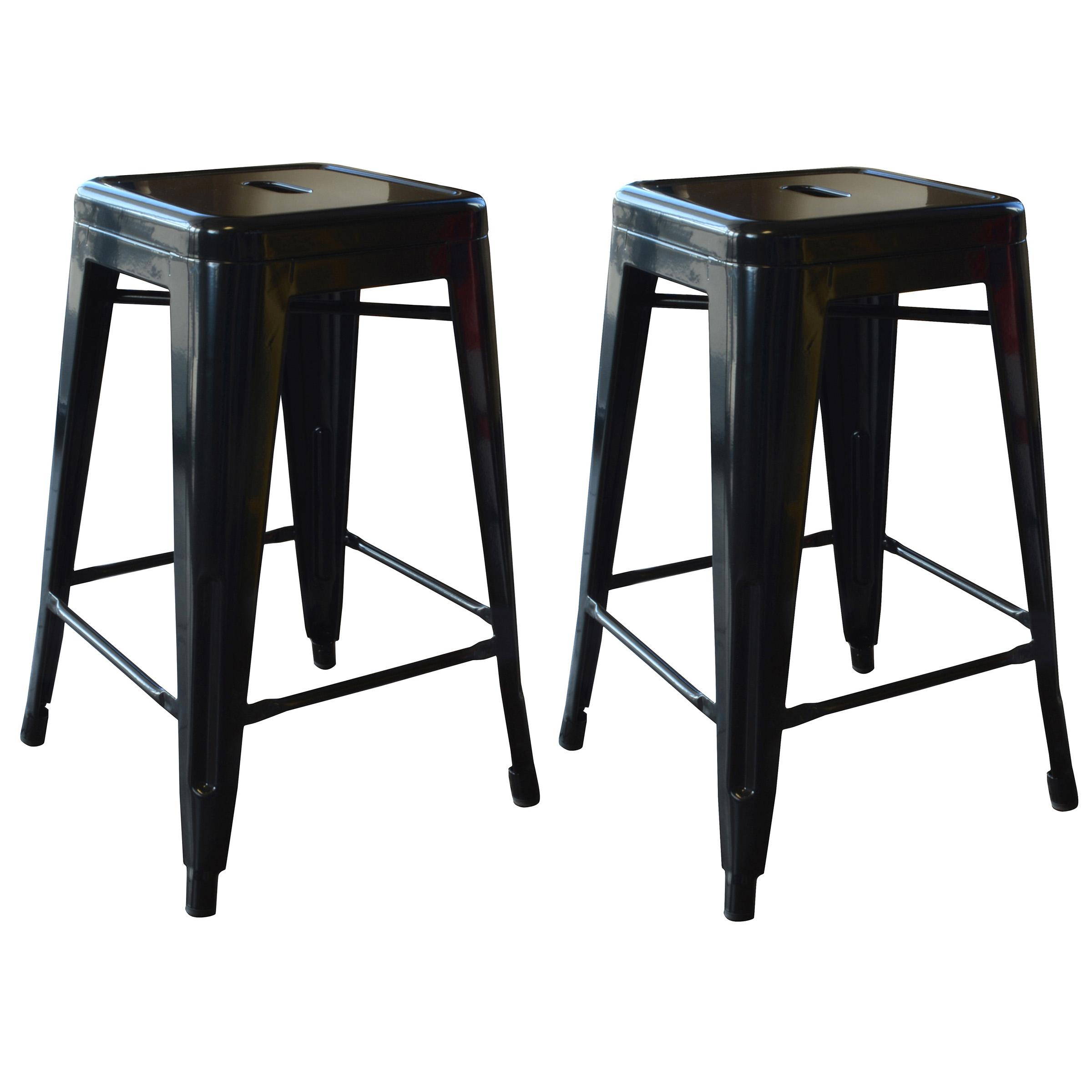 Amerihome Loft Black 24 Inch Metal Bar Stool 2 Piece Walmartcom