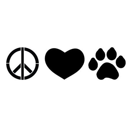 Peace, Love & Paw Prints Stencil by StudioR12 | Fun Hip Art - Mini 8 x 3-inch Reusable Mylar Template | Painting, Chalk, Mixed Media | Use for Journaling, DIY Home Decor - STCL1162_1
